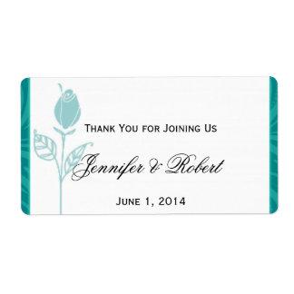 Teal Rose Graphic Wedding Water Bottle Label