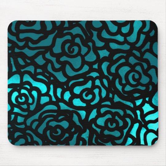teal rose mousepad