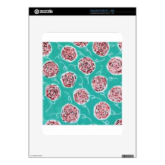 Teal Rose Pattern iPad Decal