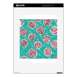 Teal Rose Pattern Skin For iPad 2