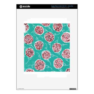 Teal Rose Pattern Skin For iPad 3