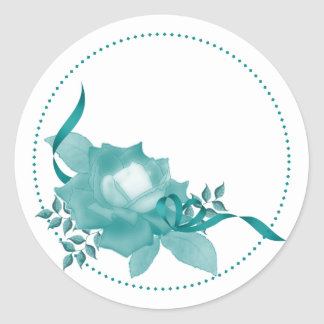 Teal Rose w/ Ribbon Classic Round Sticker