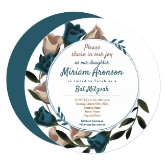teal bat mitzvah invitations