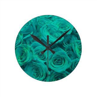 teal roses round clock