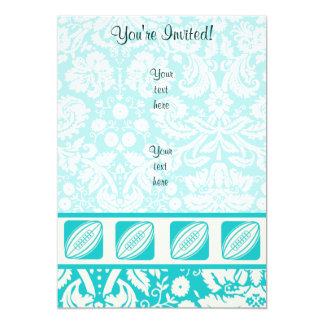 Teal Rugby 5x7 Paper Invitation Card