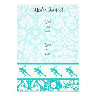 Teal Running 5x7 Paper Invitation Card