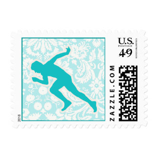 Teal Running Stamp