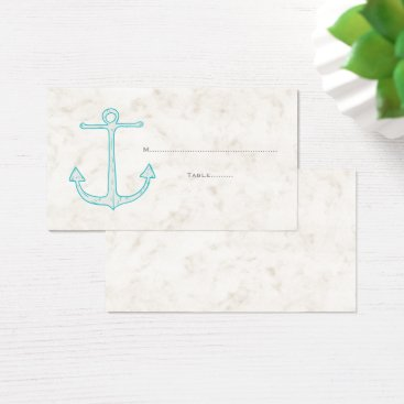 Beach Themed Teal Rustic Anchor Wedding Place Cards