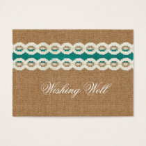 Teal Rustic burlap and lace country wedding Business Card
