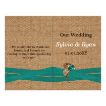 Teal Rustic burlap and lace country wedding Flyer