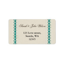 Teal Rustic burlap and lace country wedding Label