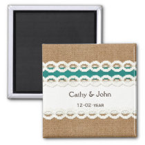 Teal Rustic burlap and lace country wedding Magnet