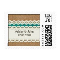 Teal Rustic burlap and lace country wedding Postage