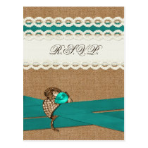 Teal Rustic burlap and lace country wedding Postcard