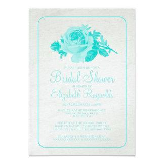 Teal Rustic Floral/Flower Bridal Shower Invitation