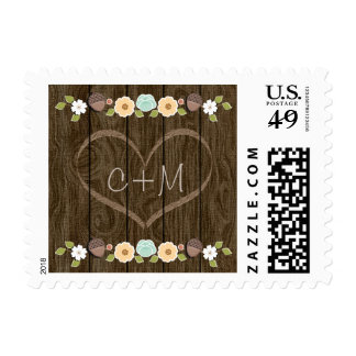 Teal Rustic Love Carved Initials Heart Wedding Postage