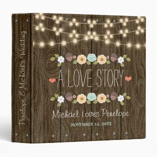 Teal Rustic String of Lights Floral Wedding 3 Ring Binder