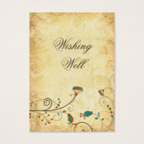 Teal Rustic Vintage Floral Wedding Business Card