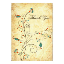 Teal Rustic Vintage Floral Wedding Card