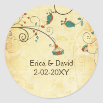 Teal Rustic Vintage Floral Wedding Classic Round Sticker