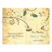 Teal Rustic Vintage Floral Wedding Flyer