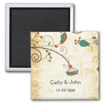 Teal Rustic Vintage Floral Wedding Magnet