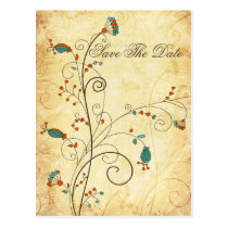 Teal Rustic Vintage Floral Wedding Postcard