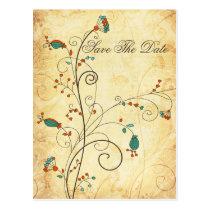 Teal Rustic Vintage Floral Wedding Postcard