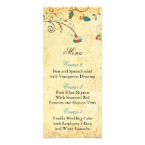 Teal Rustic Vintage Floral Wedding Rack Card