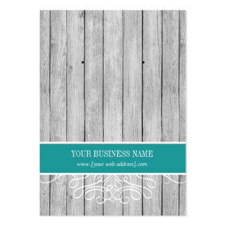 Teal Rustic Wood Custom Earring Card Large Business Card