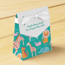 Teal Safari Theme Baby Shower Favor Box