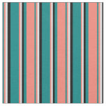 [ Thumbnail: Teal, Salmon, Lavender, and Black Colored Lines Fabric ]