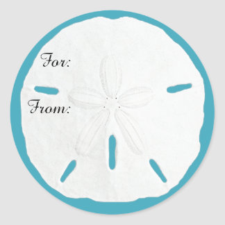 Teal Sand Dollar Gift Tag Christmas Stickers