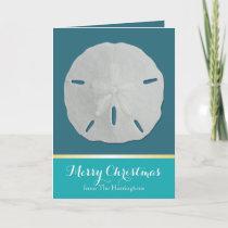 Teal Sand Dollar Tropical Christmas Cards