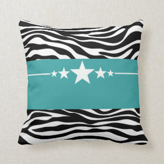 Teal Sassy Star Zebra Pillow