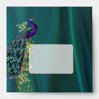 Teal Satin and Peacock Custom Wedding Envelope