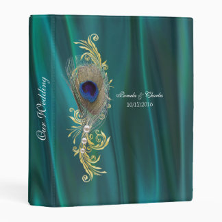 Teal Satin and Peacock Feather Wedding Binder