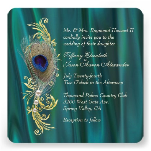 Teal Satin and Peacock Feather Wedding Invitation Custom Invite