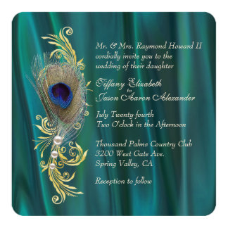 Teal Satin and Peacock Feather Wedding Invitation