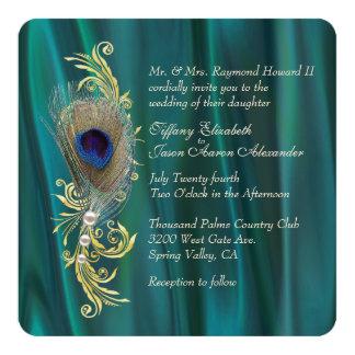 Teal Satin and Peacock Feather Wedding Invitation Custom Invite