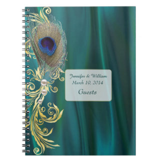 Teal Satin and Peacock Feather Wedding Notebook