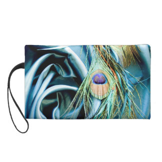 Teal Satin and Peacock Feather Wristlet Purse