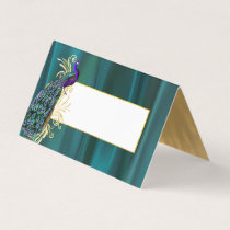 Teal Satin and Peacock Wedding Folded Place Card