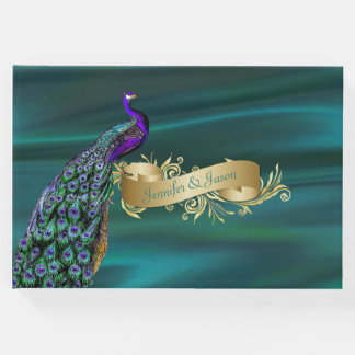 Teal Satin and Peacock Wedding Guest Book