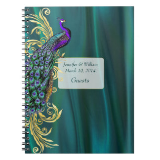 Teal Satin and Peacock Wedding Guest Sign In Spiral Notebook