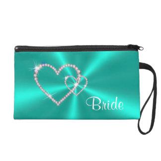 Teal Satin Diamond Hearts Bride Wristlet Bag