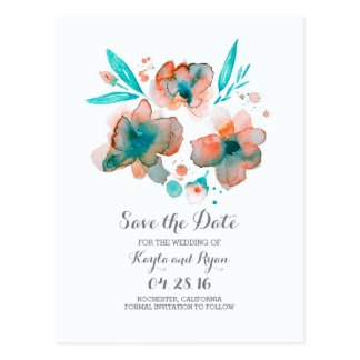 teal save the date - watercolor flowers postcard
