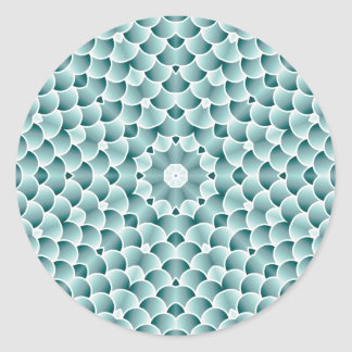Teal Scales Kaleidoscope Design Classic Round Sticker
