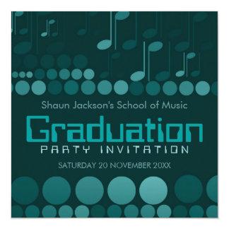 "Teal School of Music Graduation Invitation 5.25"" Square Invitation Card"