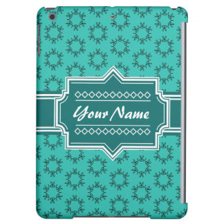 Teal Scribble Hand Hrawn Floral Personalized iPad Air Cases